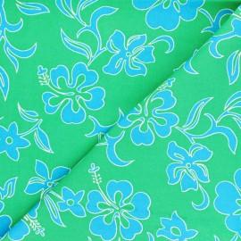 Tissu Hoffman Fabrics Small Hibiscus - vert x 10cm
