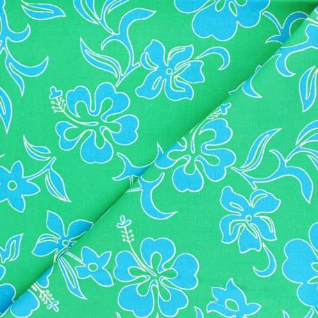 Hoffman cotton fabrics - green Small Hibiscus x 10cm
