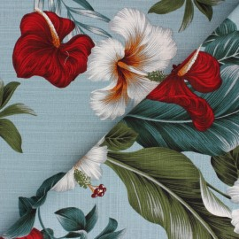 Tissu coton aspect lin Hoffman Fabrics Seaglass - bleu x 10cm