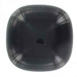Square-shaped button with rounded edges - black