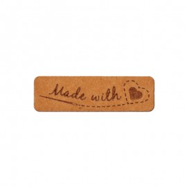 """40mm paper label - brown """"Made with love"""""""