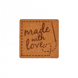 "20mm paper label - brown ""Made with love"""