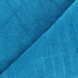 Tissu éponge bébé bambou - Bleu paon x 10cm
