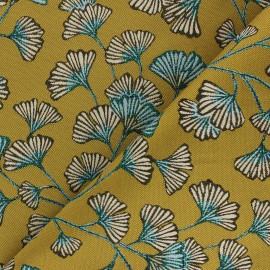 Jacquard fabric - gold Biloba x 10cm