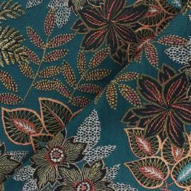 Jacquard fabric - peacock blue Paradise x 10cm