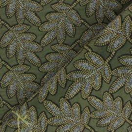 Tissu Jacquard Bego - Vert kaki x 10cm