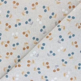 Tissu Toile polycoton aspect lin Cerisettes - ocre x 10cm