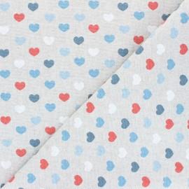 Linen aspect polycotton fabric - blue Valentine x 10cm