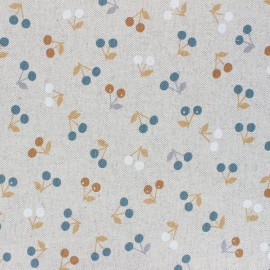Coated linen aspect polycotton fabric - ochre Cerisettes x 10cm