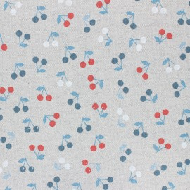 Coated linen aspect polycotton fabric - blue Cerisettes x 10cm