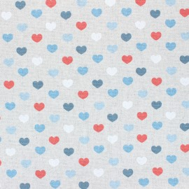Coated linen aspect polycotton fabric - blue Valentine x 10cm