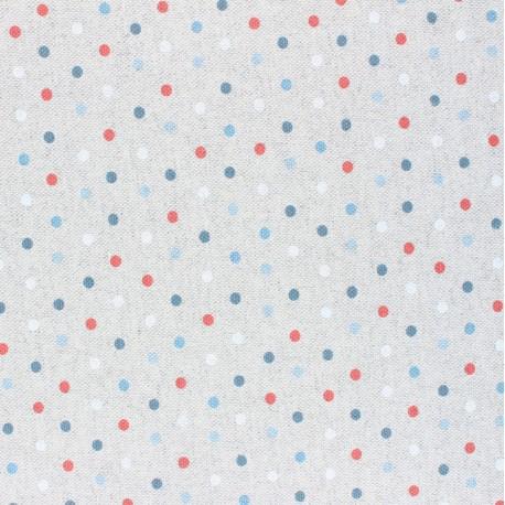 Coated linen aspect polycotton fabric - blue Confettis x 10cm