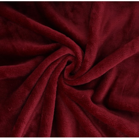 Plain flannel fleece fabric - dark red x 10cm