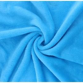 Tissu Doudou Tout Doux uni - bleu x 10 cm