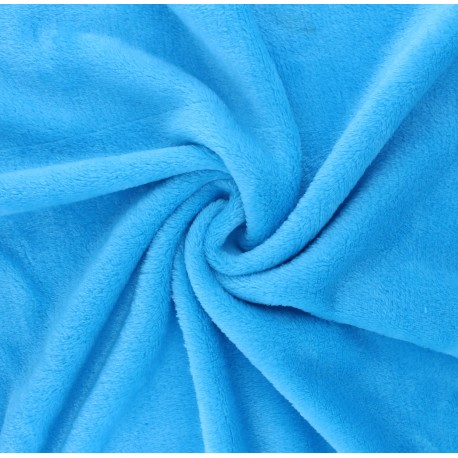 Plain flannel fleece fabric - blue x 10cm