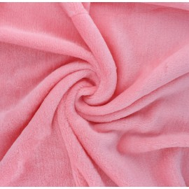 Plain flannel fleece fabric - bubble-gum pink Tout Doux x 10cm