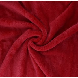 Plain flannel fleece fabric - red Tout Doux x 10cm