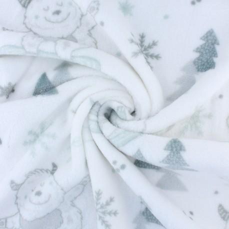Flannel fleece fabric - white Funny yeti x 10cm
