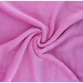 Plain flannel fleece fabric - candy pink Tout Doux x 10cm