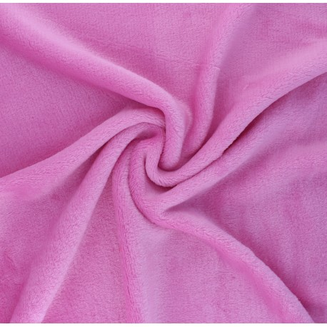 Plain flannel fleece fabric - candy pink x 10cm