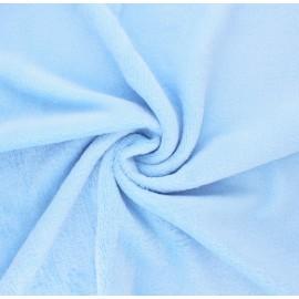 Plain flannel fleece fabric - baby blue Tout Doux x 10cm