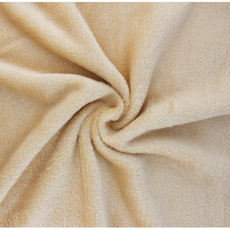 Plain flannel fleece fabric - beige x 10cm