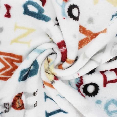 Flannel fleece fabric - white Animals alphabet x 10cm