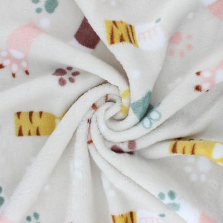 Flannel fleece fabric - beige Cat paws x 10cm