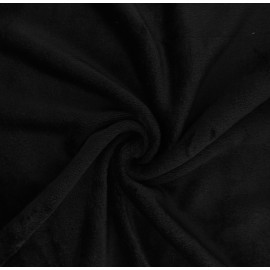 Plain flannel fleece fabric - black Tout Doux x 10cm