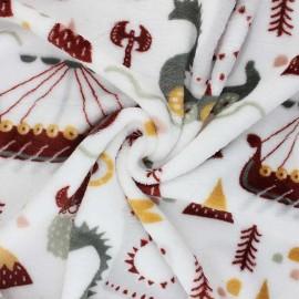 Tissu Doudou Viking - blanc x 10 cm