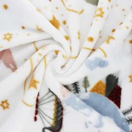 Tissu Doudou Worlds view - blanc x 10 cm