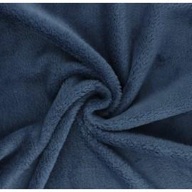 Tissu Doudou Tout Doux uni - bleu houle x 10 cm