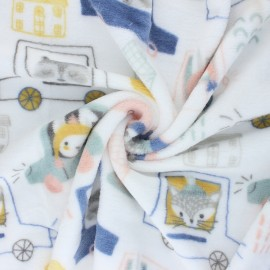 Flannel fleece fabric - white Animals traffic x 10cm