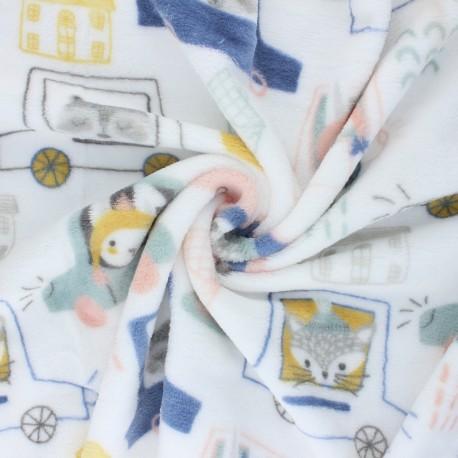 Flannel fleece fabric - white Animals traffic x 10cm