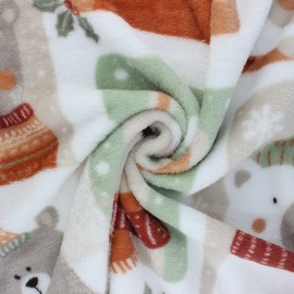 Flannel fleece fabric - white Winter pictures x 10cm