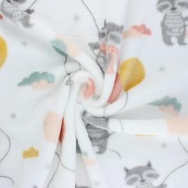 Flannel fleece fabric - white Cuty balloon x 10cm