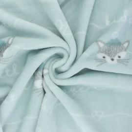 Flannel fleece fabric - sweet mint Baby love x 10cm