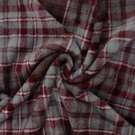 Flannel fleece fabric - ruby red Prestwick x 10cm
