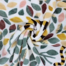 Flannel fleece fabric - white Savage leaves x 10cm