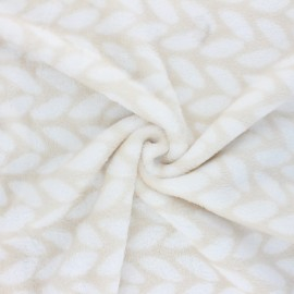 Flannel fleece fabric - beige Doucette x 10cm