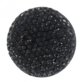 Bouton nylon strass noir
