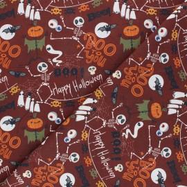 Tissu coton cretonne Boo - acajou x 10cm