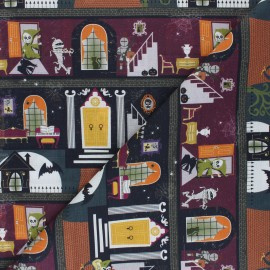 Cretonne Cotton fabric - grey Halloween manor x 10cm