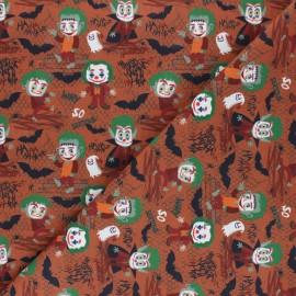 Cretonne Cotton fabric - rust Frank le clown x 10cm