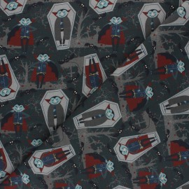 Tissu coton cretonne Vamp - gris x 10cm