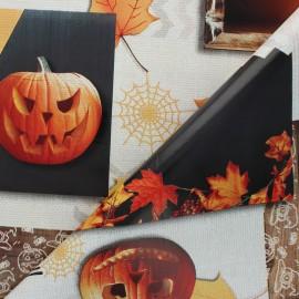 Tissu toile cirée Halloween mood - beige x 10cm