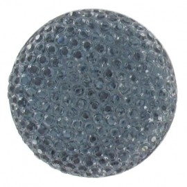 Nylon button with rhinestones - grey/blue