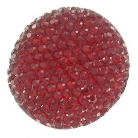 Bouton nylon strass rouge