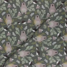 Tissu coton cretonne Forest bear - vert x 10cm