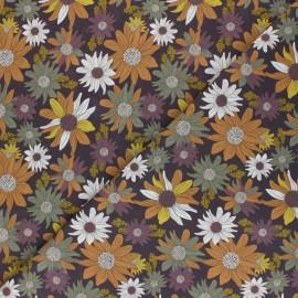 Cretonne Cotton fabric - brown Autumn flowers x 10cm